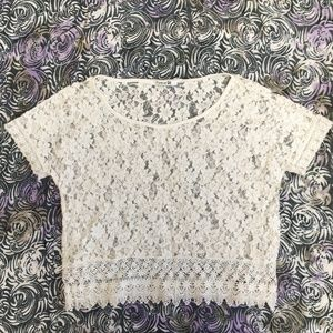 Forever 21 White Lace Top, Size L
